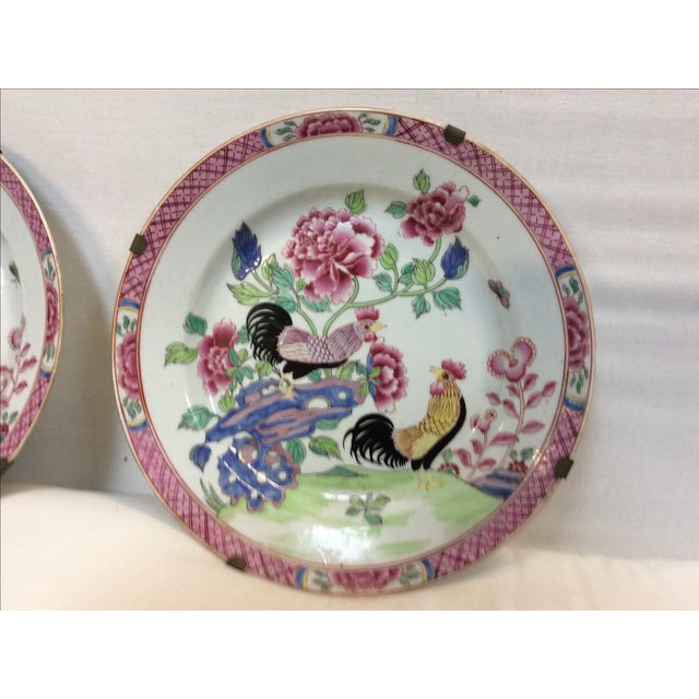 Pair of Chinese Export Style Antique Rooster Plates Possibly French - Image 3 of 8