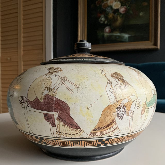 Yellow Greek Handmade Lidded Vase With 9 Muses For Sale - Image 8 of 9