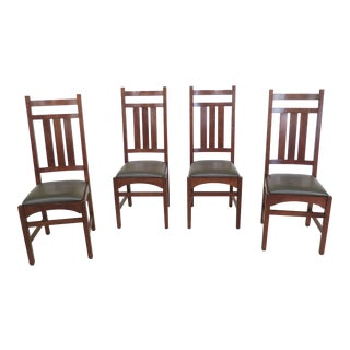 1990s Vintage Stickley Mission Cherry Dining Room Chairs- Set of 4 For Sale