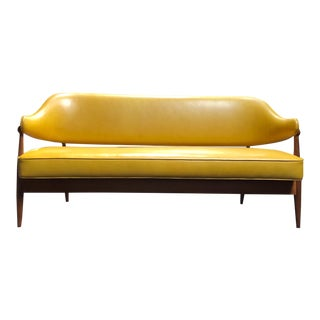1950s Vintage Danish Teak Settee Completely Restored in Summer Yellow Leather For Sale