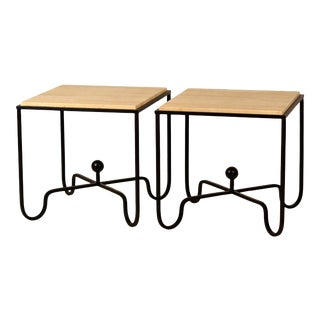 Wrought Iron and Travertine 'Entretoise' Side Tables by Design Frères - a Pair For Sale