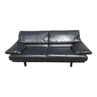 "B & B Italia Black Leather ""Alanda"" Sofa For Sale"