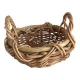 Image of Boho Wood Rustic Bamboo Basket For Sale
