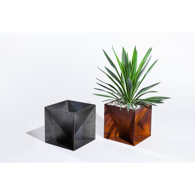 Contemporary Trey Jones Studio Weathering Steel Origami Planter For Sale - Image 3 of 12