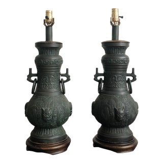 Large Table Lamps in the Style of James Mont - a Pair For Sale
