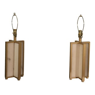 Pair of Faux Marble and Gold Framed Mid-Century Modern Table Lamps For Sale
