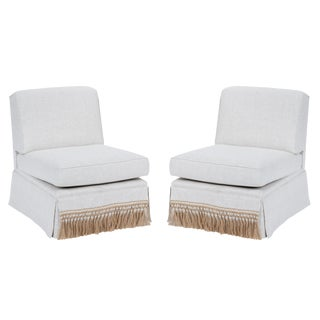 Casa Cosima Skirted Slipper Chair in Oatmeal Linen, a Pair For Sale