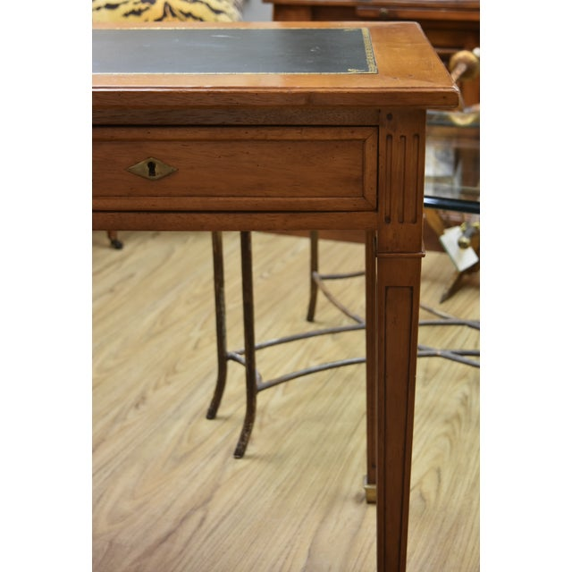 French Louis XVI Style Green Leather Top Writing Desk For Sale - Image 3 of 13
