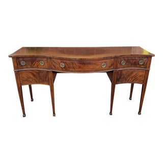 1940s Sheraton Style Serpentine Mahogany Dining Room Sideboard For Sale