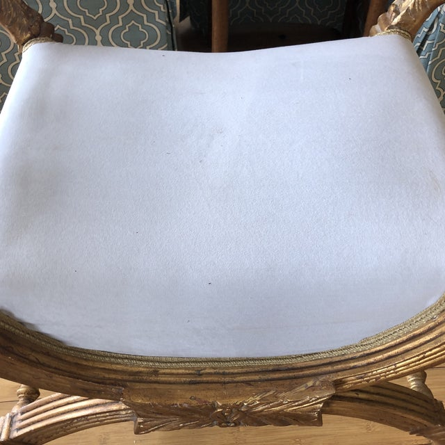 Rococo 1960s Rococo Gilded X-Bench Stool For Sale - Image 3 of 6