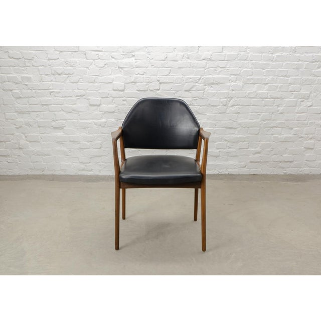 Mid-Century Scandinavian Design Teak Wood and Leather Side / Desk Chair, 1960s For Sale - Image 4 of 11