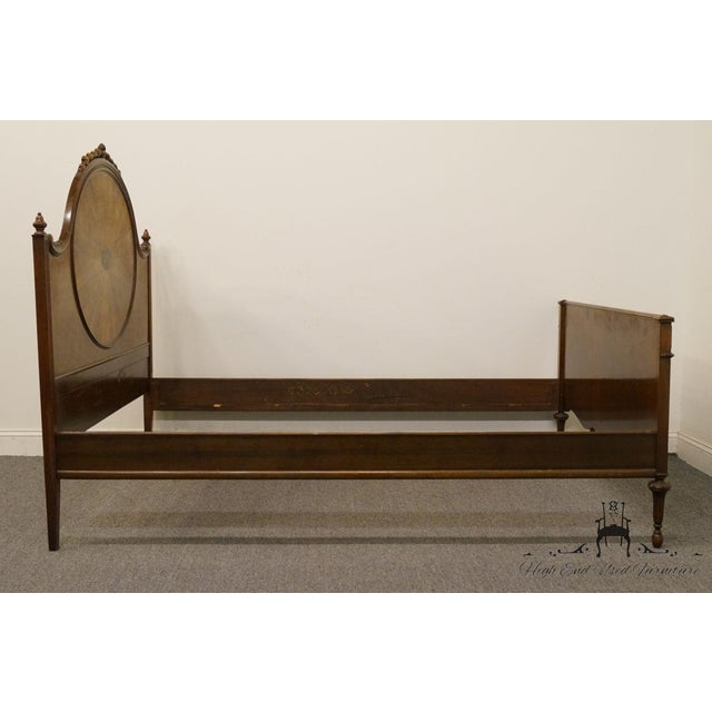 20th Century French Berkey & Gay Burled Walnut Full Size Bed For Sale - Image 9 of 13