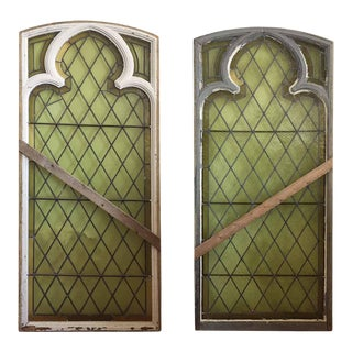 Gothic Style Stained Glass Windows - a Pair For Sale