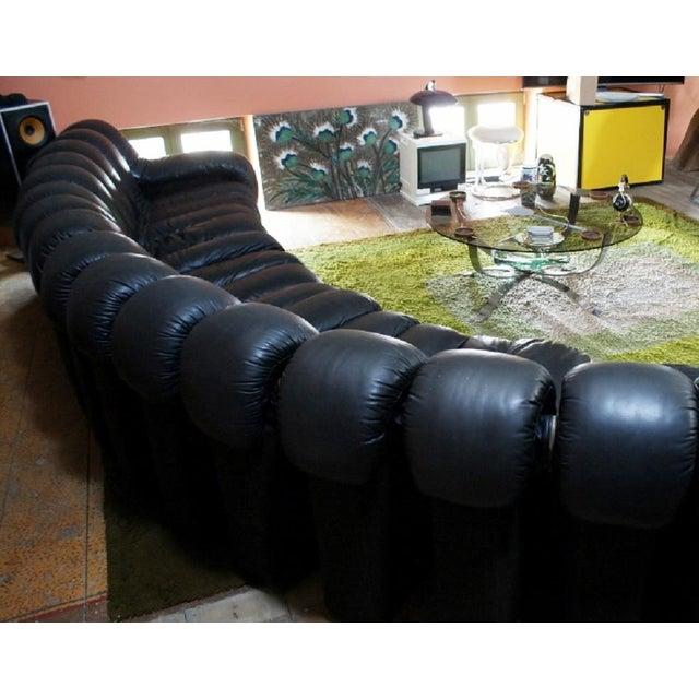 Large De Sede Endless Non-Stop DS 600 Black Sofa, 20 Sections - 1970's