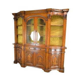 Italian Walnut Vintage 1960's Large Walnut Bookcase Breakfront For Sale