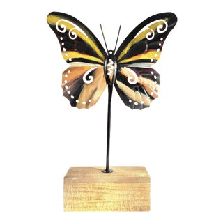 Hand Painted Butterfly on Wood Base For Sale