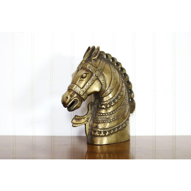 Late 20th Century 20th Century Hollywood Regency Brass Horse Head Bust For Sale - Image 5 of 8
