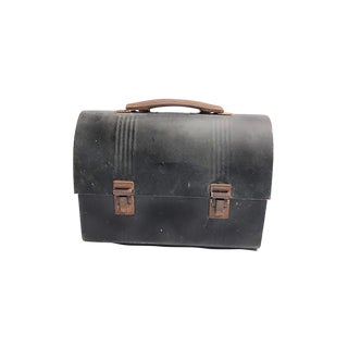 1940s Mid Century Industrial Black Metal Lunch Box With Gold Lining