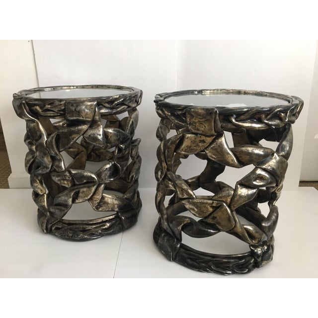 Pair of delicious candy ribbon occasional side tables in the Hollywood Regency style of Tony Duquette. Can be placed...