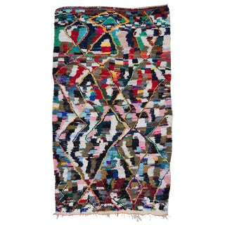 Vintage Moroccan Azilal Boucherouite Rug - 4′6″ × 7′9″ For Sale