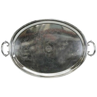 Antique Mappin Brothers Regency Style Silverplated Oval Handled Tray For Sale