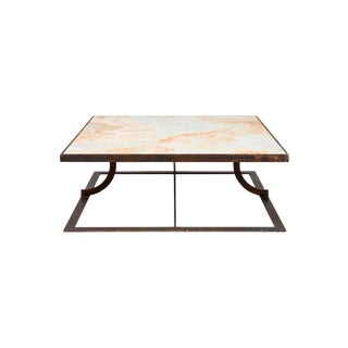 Transitional Stone International Aurora Marble Cocktail Table For Sale