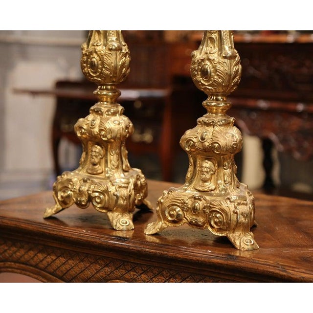 French 19th Century French Brass Gilded Repousse Pic-Cierges Candleholders - a Pair For Sale - Image 3 of 8