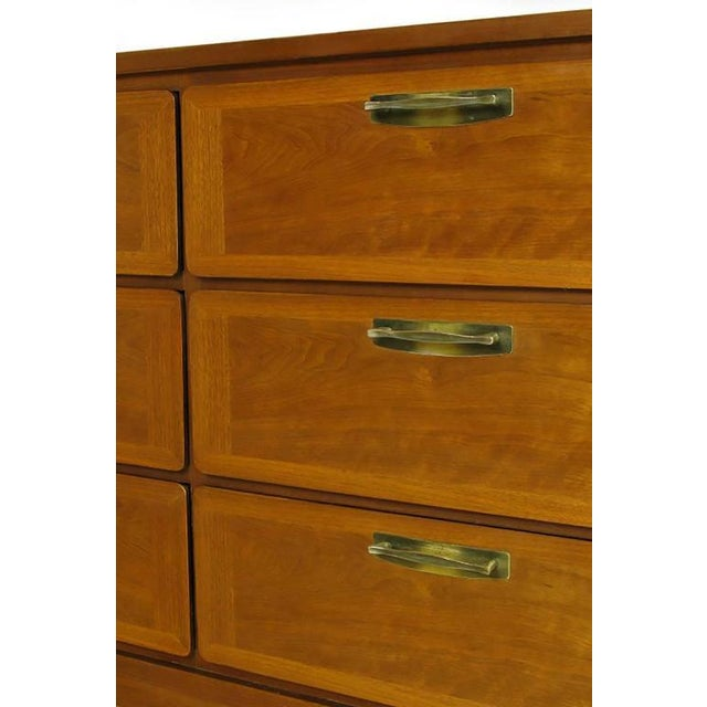 Metal 1950s Red Lion Parquetry Front Mahogany Nine-Drawer Dresser For Sale - Image 7 of 9