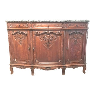 19th Century Antique French Country Louis XV Style Buffet Sideboard With Marble Top For Sale