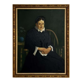 Large Scale American Classical Portrait Painting of Woman With Giltwood Frame For Sale