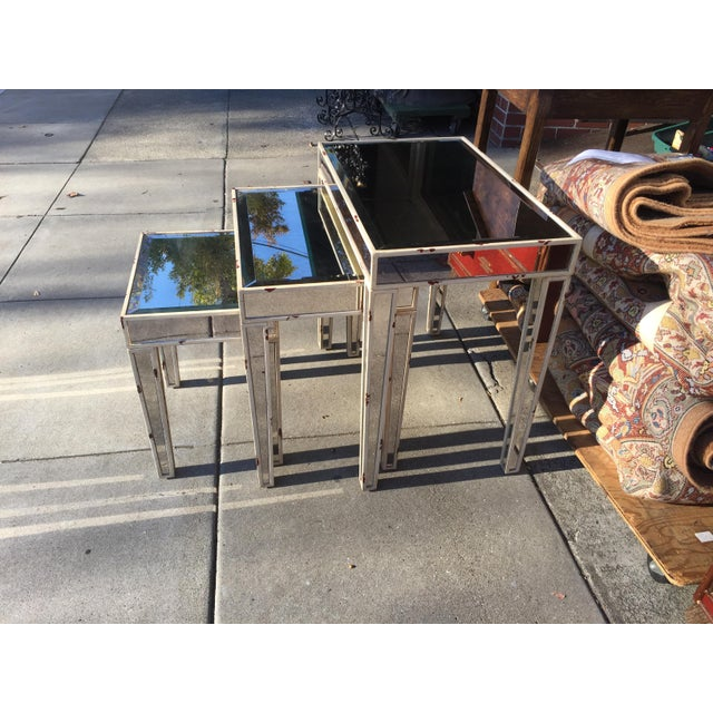 Mirrored Nesting Tables - Set of 3 - Image 4 of 7
