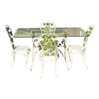 French Art Nouveau Green Flower Maple Leaf Garden Patio Dining Set - 5 Piece Set For Sale