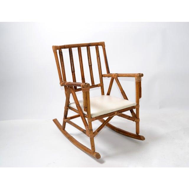Mid-Century Modern Boho Style Bamboo & Vinyl Children Rocking Chair For Sale - Image 10 of 13
