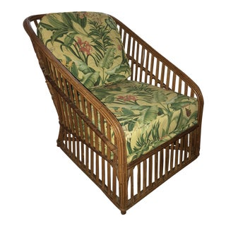 Vintage Bamboo With Waverly Fabric Club Chair For Sale