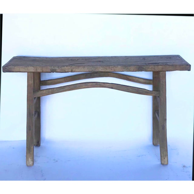 Wood Rustic Elm Wood Console / Altar Table With Curved Stretchers For Sale - Image 7 of 7