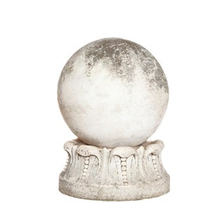 Italian Marble Sphere on Carved Pedestal Base / Garden Ornament For Sale
