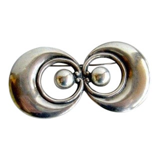 Large 1950's Los Castillo Mexican Modernist Sterling Silver Brooch For Sale