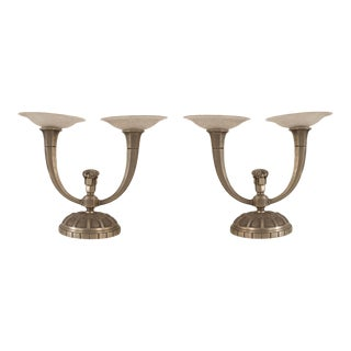 French Art Deco Nickel Plated 2 Arm Candelabra- A Pair For Sale