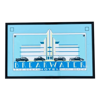 Mid 20th Century Miami Breakwater Hotel Print, Framed For Sale