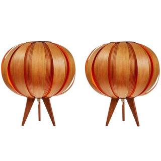Pair of 1960s Hans-Agne Jakobsson Wood Table Lamps for Ab Ellysett
