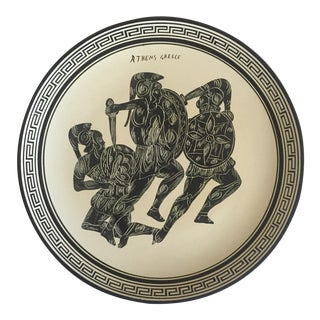 Vintage Mid Century Grecian Hand Painted Black & White Large Ceramic Decorative Gladiator Wall Plate For Sale