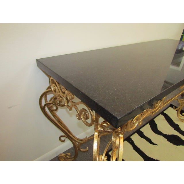 1950s Vintage Gold Leaf Wrought Iron Console Table For Sale - Image 4 of 7