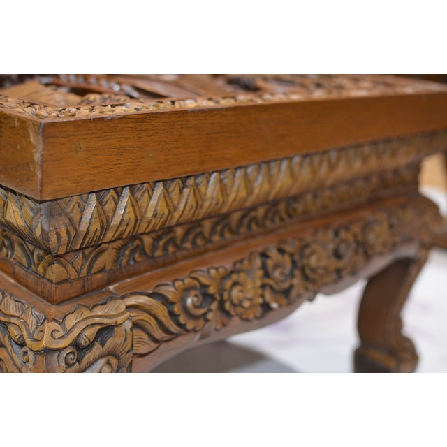 Brown Asian Hand-Carved Teak Coffee Table For Sale - Image 8 of 9