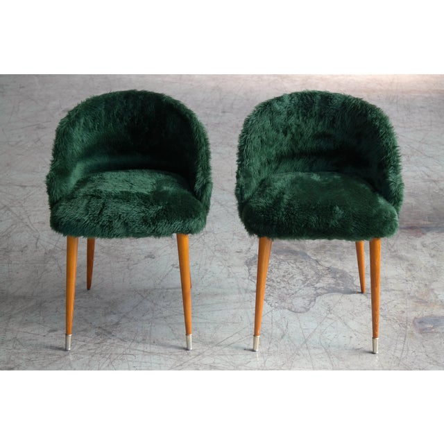 Green Frode Holm Inspired Mid-Century Danish Vanity Chairs in Elm and Green Faux Fur - a Pair For Sale - Image 8 of 10
