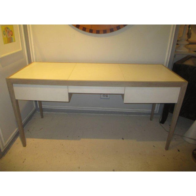 Custom Cerused Oak and Parchment Desk Featuring Three Central Drawers