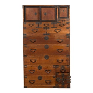 Meiji Period 19th Century Japanese Tansu Chest with Sliding Panels and Drawers For Sale
