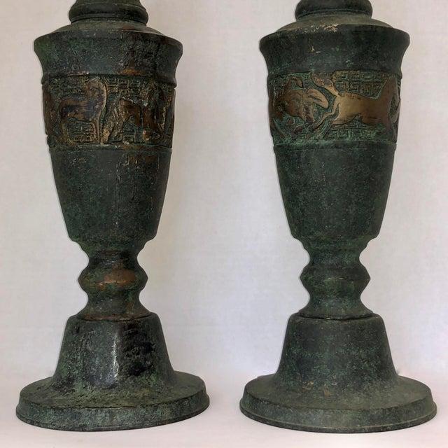 James Mont Style Greek Key/Horses Design Cast Bronze Verdigris Floor Candlesticks - a Pair For Sale - Image 10 of 12