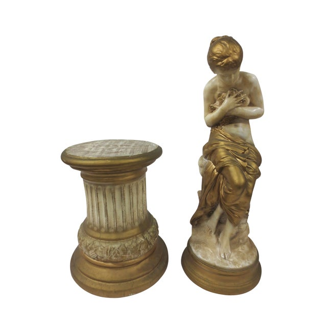 Gilt Classical Statue On Pedestal - Image 9 of 9