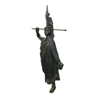 Antique Pewter Aztec Warrior Statue For Sale
