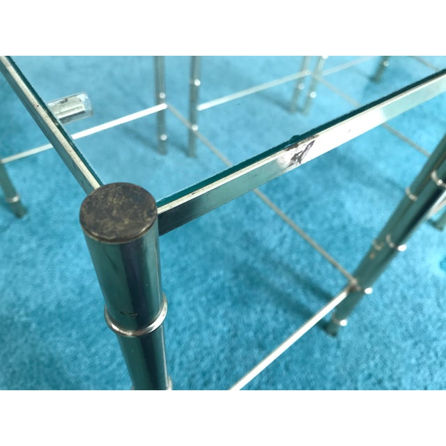 Vintage Glass Top and Metal Nesting Tables- Set of 3 For Sale In Charlotte - Image 6 of 13